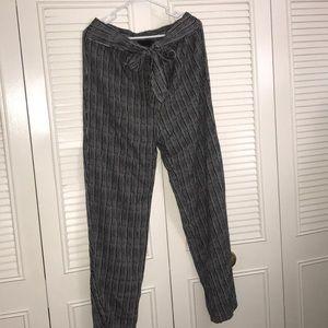 Cynthia Rowley Black & Cream Tie-Waisted Pants XL